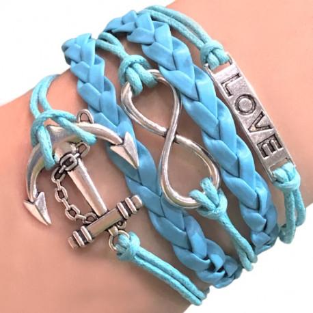 Голубой плетеный браслет с якорем