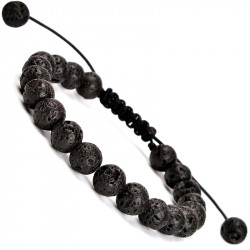 Черный плетеный браслет из лавы