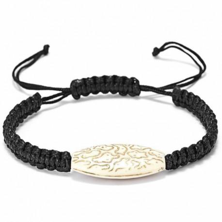 Черный плетеный регулирующийся браслет