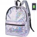 Школьный голографический рюкзак с USB зарядкой