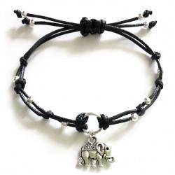 Черный плетеный раздвижной браслет со слоном