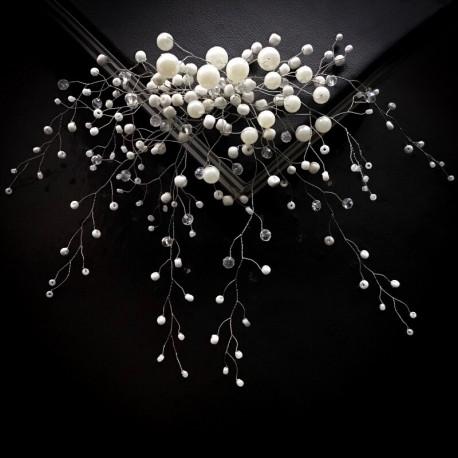 Свадебное украшение для волос из бусин