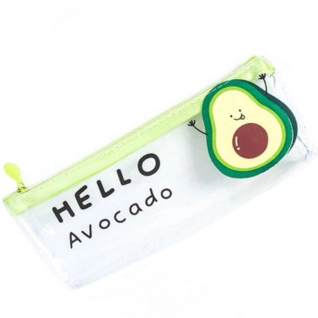 Прозрачный школьный пенал с авокадо