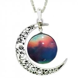 Кулон фиолетовый космос и Луна на цепочке