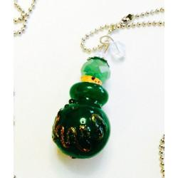 Кулон бутылочка с пробкой на цепочке зеленая